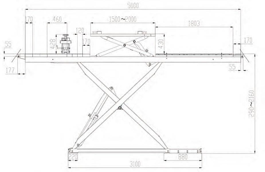 Automotive Lifts Dimensions : Lifts pa scissor lift t